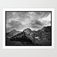 Mountains are rocky pillows for exhausted clouds... Art Print
