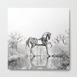 Snowy Horse Metal Print