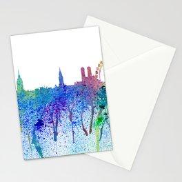 Munich Skyline Silhouette An Impressionistic Splash - Dream Cities Series Stationery Cards