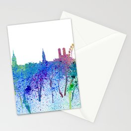 Munich Skyline Silhouette An Impressionistic Splash - Dream Cities Series Stationery Cards