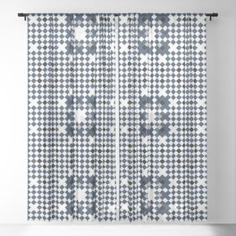 ARCHITECT steel blue, black, white check graph pattern design Sheer Curtain