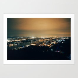 Glowing City by the River Art Print