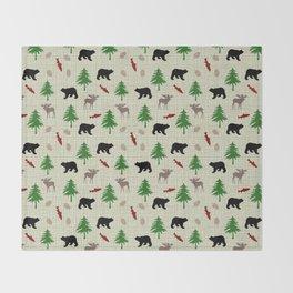 Moose & Bear Pattern Throw Blanket