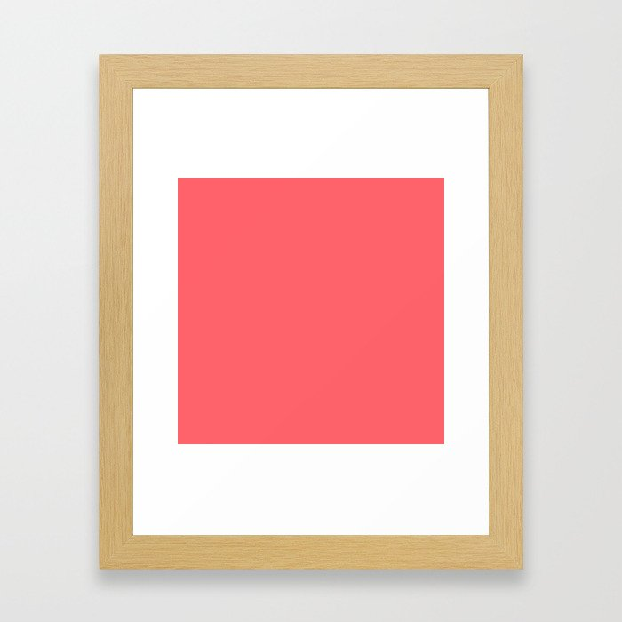 Coral Red Solid Color Block Framed Art Print