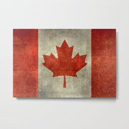 The National Flag of Canada, Vintage texture 3:5 scale version Metal Print