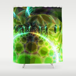 Dawn of Time – Abstract Lime & Gold Emerge Shower Curtain