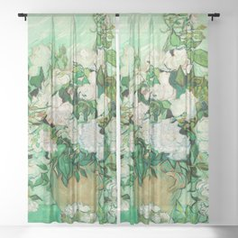 Roses by Vincent Van Gogh - Vintage Painting Sheer Curtain