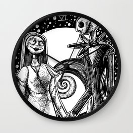 The Nightmare Before Christmas The Lovers Tarot Card Black and White Wall Clock