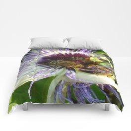 Close Up Of Passion Flower with Honey Bee  Comforters