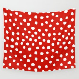 Christmas dots painted minimalist dotted pattern holiday red and white Wall Tapestry