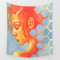 honeycomb Wall Tapestries featuring honeycomb by Ridaa Khan