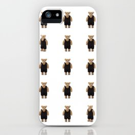 Teddy Bear with a Black Jumpsuit iPhone Case