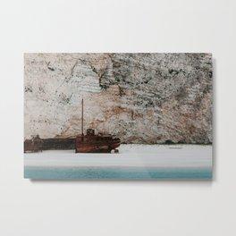 Navagio beach / shipwreck beach | Colourful Travel Photography | Zakynthos, Greece (Zante) Metal Print