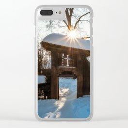 Sun star in a Romanian Village in winter Clear iPhone Case