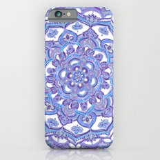 Lilac Spring Mandala - floral doodle pattern in purple & white Slim Case iPhone 6s
