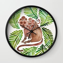 Monkey Cuddles – Tropical Green Wall Clock