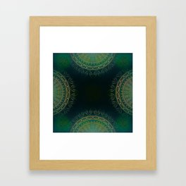 """""""Dark Clover Green & Gold Mandala Deluxe"""" Framed Art Print"""