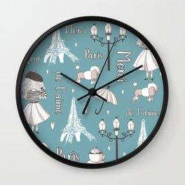 Paris Girl - Blue Wall Clock
