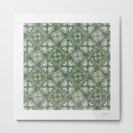 Continuous Flowers Pattern Tessellation in Green Metal Print