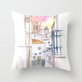 Romantic Tarifa Street Walk with History in Andalusia Spain Throw Pillow
