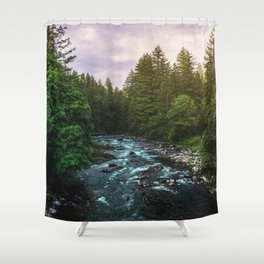 PNW River Run II - Pacific Northwest Nature Photography Shower Curtain