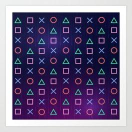 Cyberpunk Vaporwave Playstation Icons Art Print