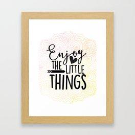 Enjoy the Little Things Pastel Pink Mandala Framed Art Print