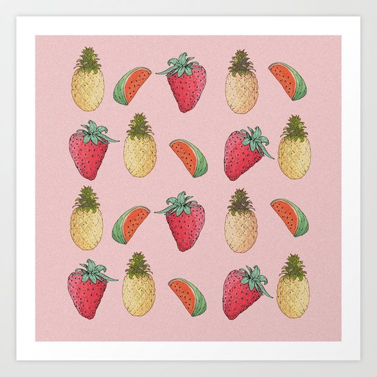 watermelon, pineapple, and Strawberry  Art Print