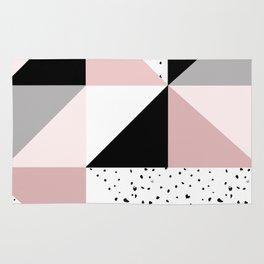 Geometrical pink black gray watercolor polka dots color block Rug