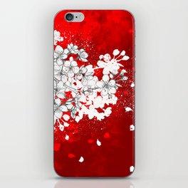Red skies and white sakuras iPhone Skin
