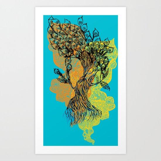 peacock tree Art Print