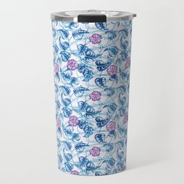 Ipomea Flower_ Morning Glory Floral Pattern Travel Mug