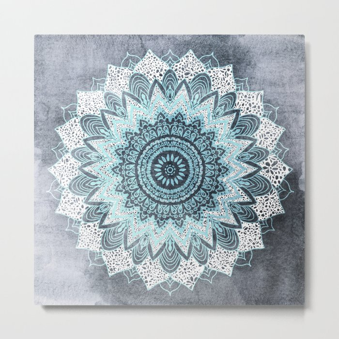 BOHOCHIC MANDALA IN BLUE Metal Print
