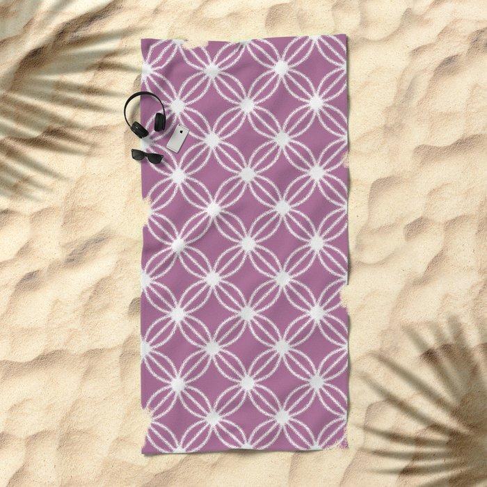 Abstract Circle Dots Purple Beach Towel