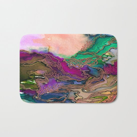BRING ON BOHEMIA 1 Bold Rainbow Colorful Watercolor Abstract Metallic Accent Summer Peach Pink Green Bath Mat