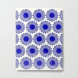 vintage flowers blue  Metal Print