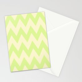 Cream and Lime Chevron Pattern Stationery Cards