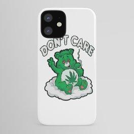 DO NOT CARE BEAR Smoking Bear Hemp Leaf Ganja 420 iPhone Case