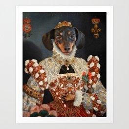 Queen Dixie - Dachshund Art Art Print