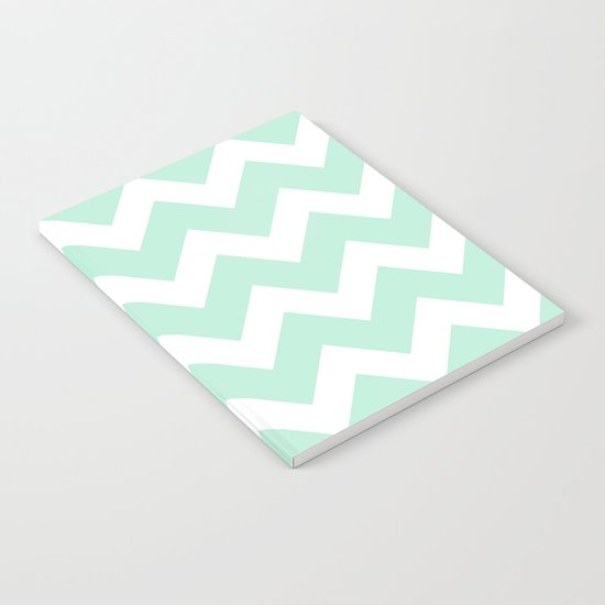 Chevron Mint Green & White Notebook