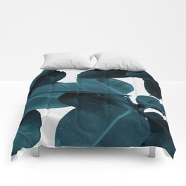 Indigo Blue Plant Leaves Comforters