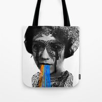 sylvia plath Tote Bags featuring Sylvia II by DIVIDUS
