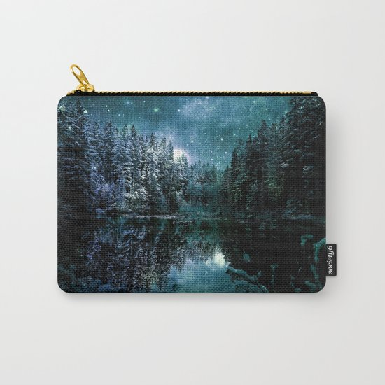 Winter Forest Teal Carry-All Pouch