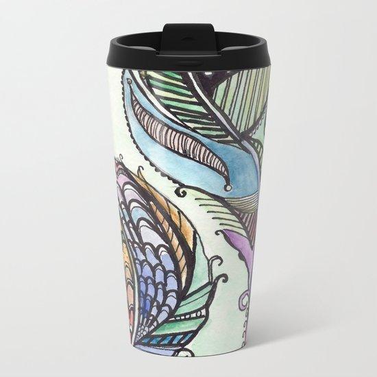 Two Feathers Metal Travel Mug