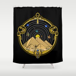 Space Egyptian Pyramids Shower Curtain