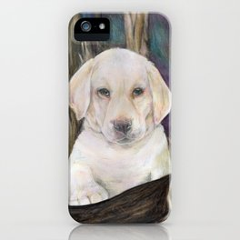 Labrador retriever white puppy in forest original art print iPhone Case