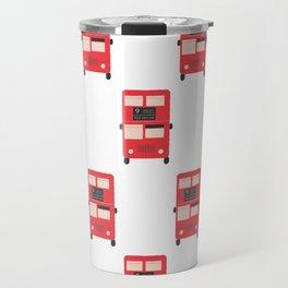 Red Double Decker Bus Pattern - London Travel Mug
