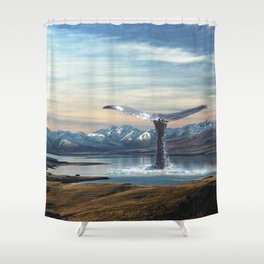 Big Fish In A Little Pond-Whale in New Zealand Shower Curtain