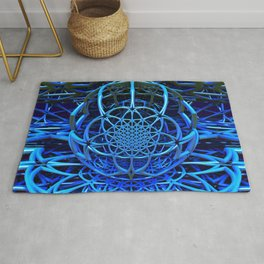 Blues - Flower of Life - Fractal - Mandala - Manafold Art Rug