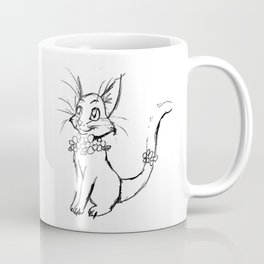 Color-or-Paint-Your-Own Cat with Flowers #ArtofGaneneK #AdultColoring #Animal Coffee Mug